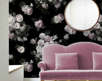 Josie / Muted Lilac Floral Removable Peel 'n Stick Wallpaper