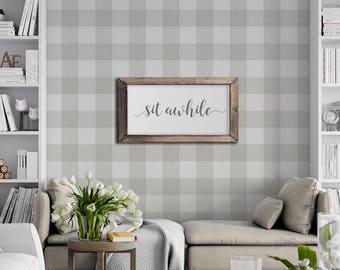 Cashmere Grey Linen Buffalo Check Removable Peel 'n Stick Wallpaper Custom Colors and Sizes!