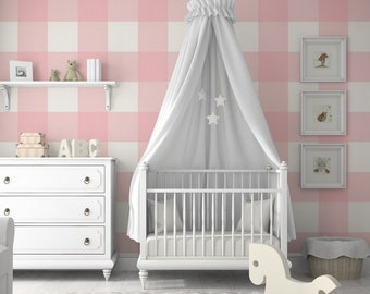 Large Buffalo Check (12 inch)  // Blush Removable Wallpaper Peel 'n Stick & PrePasted