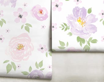 floral mural etsyamara floral mural violet wallpaper peel \u0027n stick or traditional pre pasted custom colors made in the usa!