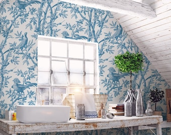 Oiseaux Chinoiserie // Blue Peel 'n Stick or PrePasted Wallpaper Removable • Vinyl-Free •  Non-toxic