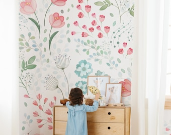 Whimsy Floral Mural || Traditional or Removable  Wallpaper | Vinyl-Free | Non-toxic