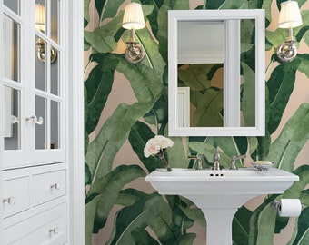 Catalina Palms // Peach  Peel 'n Stick or Prepasted Wallpaper