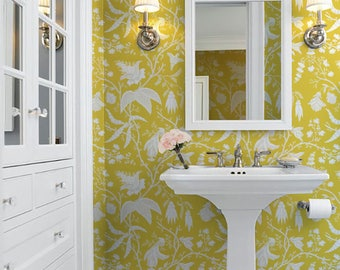 Daffodil Chinoise Repositionable Peel 'n Stick Wallpaper Choose your color!