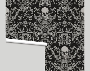 Macabre Skull Damask • Peel 'n Stick or Traditional Wallpaper • Free Custom Colors