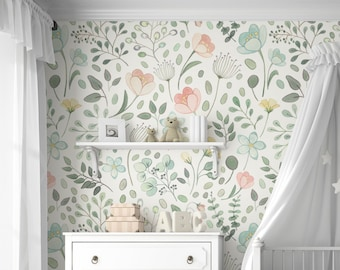 murals etsyposie watercolor floral mural traditional or removable wallpaper
