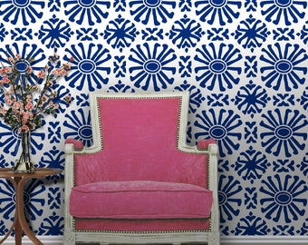 Bright Navy Cusco | Peel 'n Stick or Traditional Prepasted Wallpaper | Custom Colors | Made in the USA