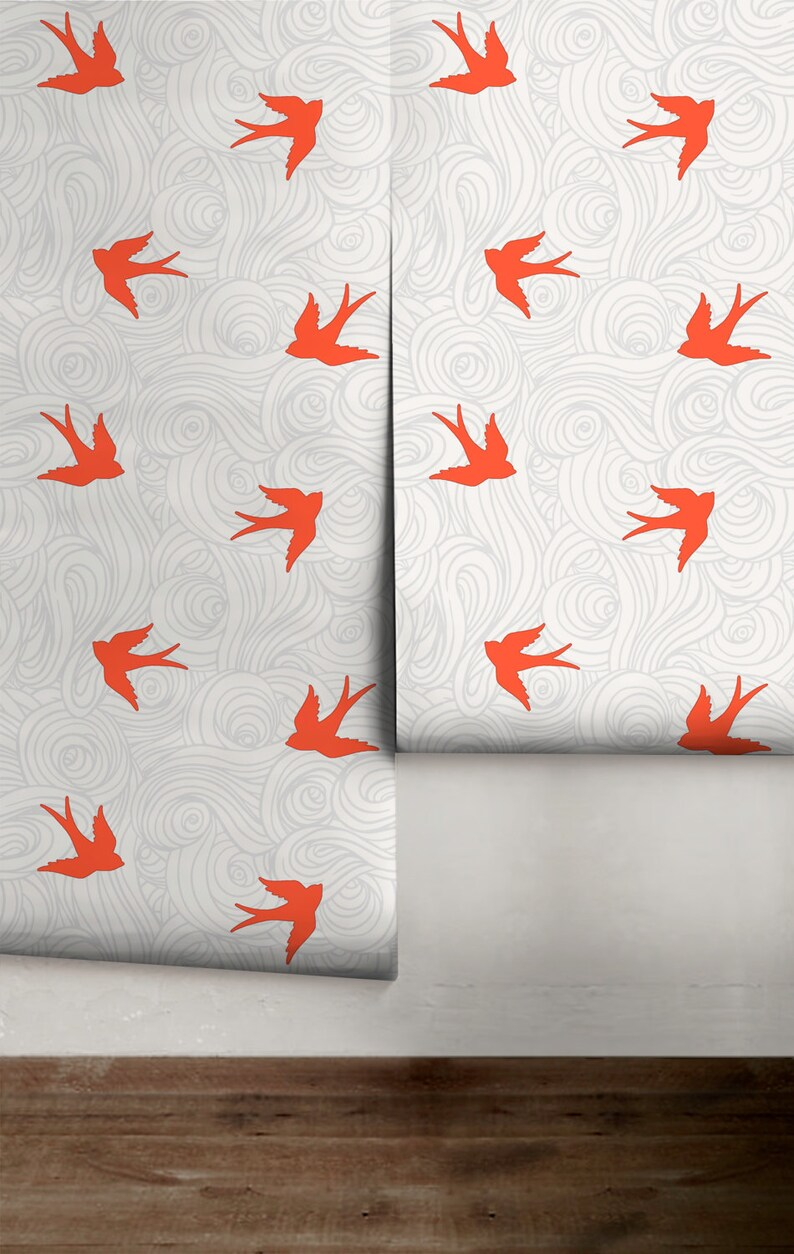 Take Flight Custom Colors Made in the USA Ships FREE! Brick and Gray Peel /'n Stick Wallpaper or Traditional Wallpaper