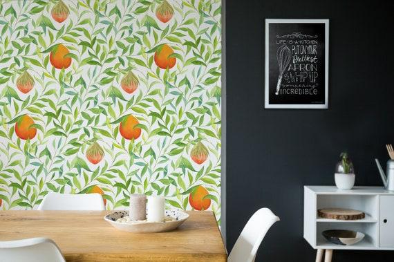 Citrus Garden Peel N Stick Or Prepasted Wallpaper Etsy