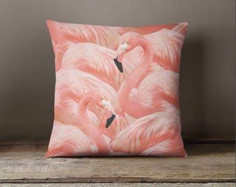 Coral Flamingo Pillow