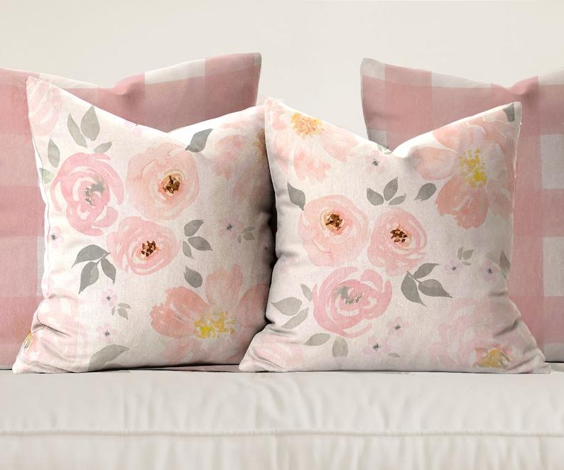 amara floral \u0026 gingham pillows etsyimage 0