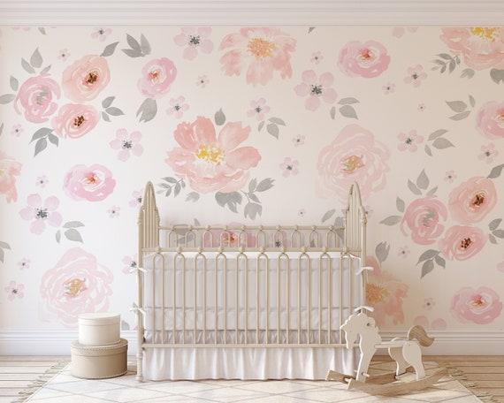 Amara Floral Wallpaper Mural Watercolor Floral Traditional Or Removable Vinyl Free Non Toxic