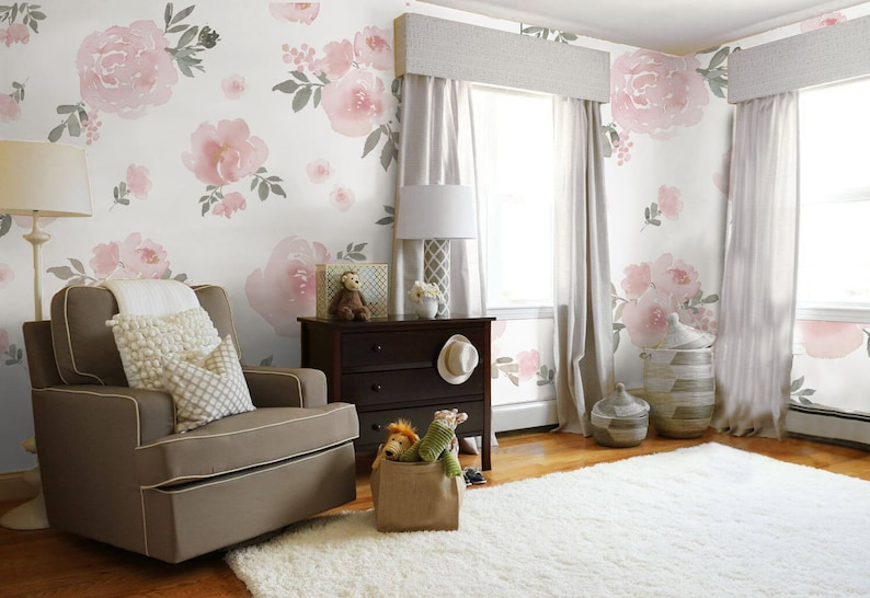 soft pink pastel floral wallpaper mural traditional or removable