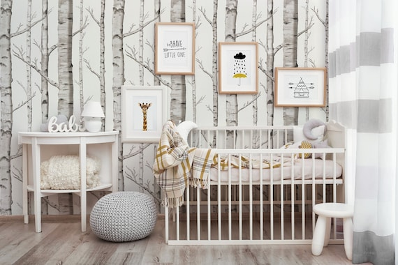 Birch Forest | Peel 'n Stick Or Traditional Wallpaper | Made In The Usa • Vinyl Free •  Non Toxic by Etsy