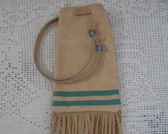 Suede leather painted pouch