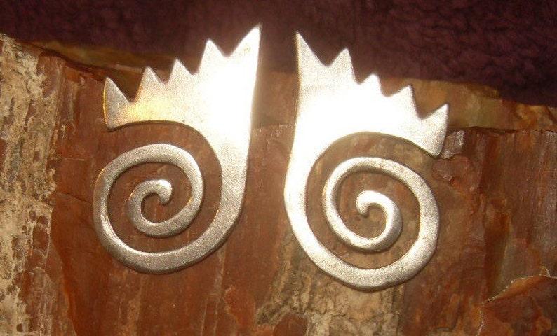 Vintage Anthony Lent Hand Hammered Sterling Earrings
