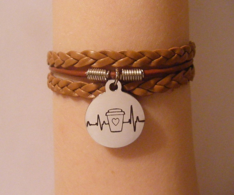 Coffee bracelet coffee jewelry mug bracelet mug jewelry Light Brown