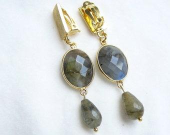 Clip earrings gold long