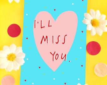 Sad miss you card etsy ill miss you greetings card leaving card m4hsunfo