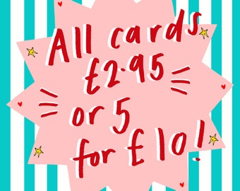 Card Bundle any 5 Greetings Cards for 10 Pounds, Quirky Fun Humorous Illustrated Greetings Cards, Blank for own Message, Mix & Match Designs