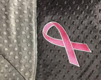 Grey on Grey Blanket Gray on Gray Blanket Adult Minky Blanket Baby Blanket Cancer Awareness Ribbon Blanket Gift For Cancer Patient
