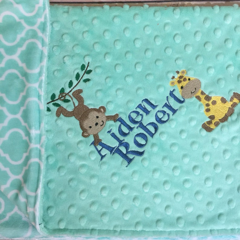 Mint Blanket Mint Baby Blanket Mint Nursery Mint Decor Minky Adult Blanket Giraffe Monkey Safari Theme Personalized Blanket