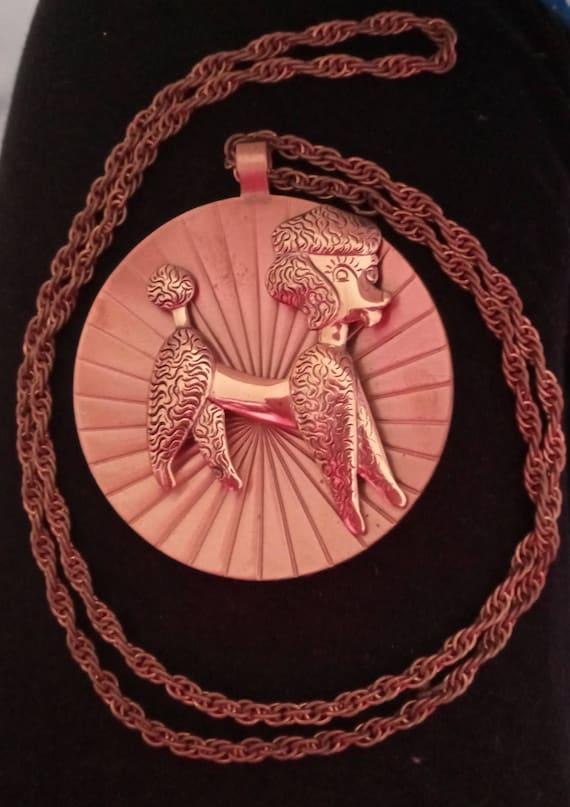 Vintage Copper Poodle Necklace
