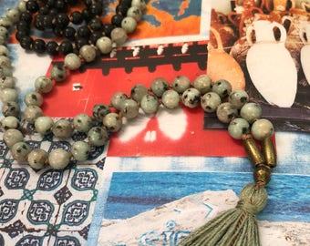 Obsidian & Kiwi Jasper <<RELEASE>> Gemstone Mala Beads Necklace // Silk // Tassel // Brass    108 // Yoga // Meditation // Japa // Mantra