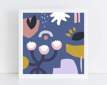 Scandinavian print, colorful wall art, scandinavian art, blue art print, bird print, print art set, mid century print, bord, flower