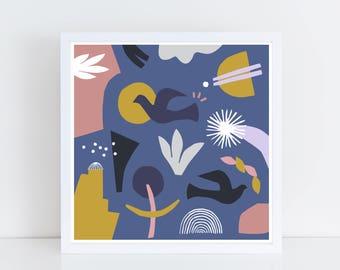 Scandinavian art print, collage, colorful wall art, scandinavian print, blue art print, bird print, print art set, mid century print, bird