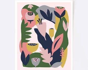 Colorful wall art, floral print, nursery print, flower print, blush, mid century modern art, scandinavian print, botanical illustration
