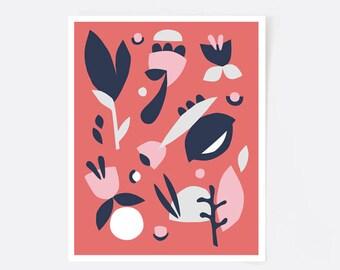 Affiche scandinave, affiche moderne, art abstrait, minimaliste, art moderne, corail, rose, bleu, fleurs, motif floral, retro, illustration