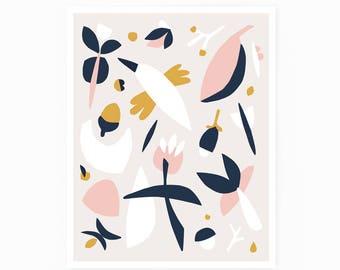 Scandinavian print, blush print, nursery print, bird print, minimalist art, kids print, pink, yellow, scandinavian art, nature print