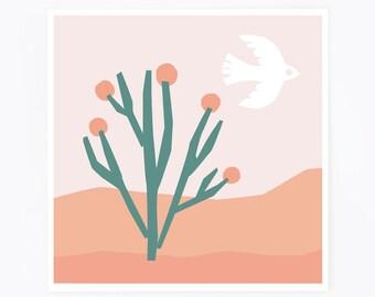 Desert print, scandinavian print, cactus print, minimalist art, desert landscape, bird print, collage, nursery print, blush wall art, pink