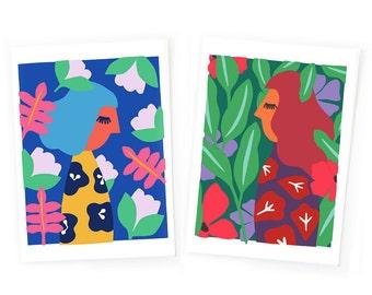 Art print set,  colorful wall art, scandinavian print, set of 2 art prints, colorful print set, woman print, nature print, landscape print