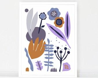 Scandinavian art, modern art print, large poster, folk art, mid century art, botanical print, nature art print, flowers, kitchen wall art