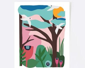 Landscape print, colorful wall art, scandinavian art, nursery print, scandinavian print, minimalist art, helsinki mon amour, bird, flowers