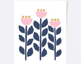 Scandinavian print, wall art, illustration, scandinavian art, folk art, colorful wall art, flowers, pink, blush, yellow, navy, botanical
