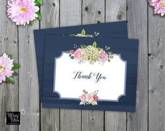 Blue Hydrangea Thank You Card Printable