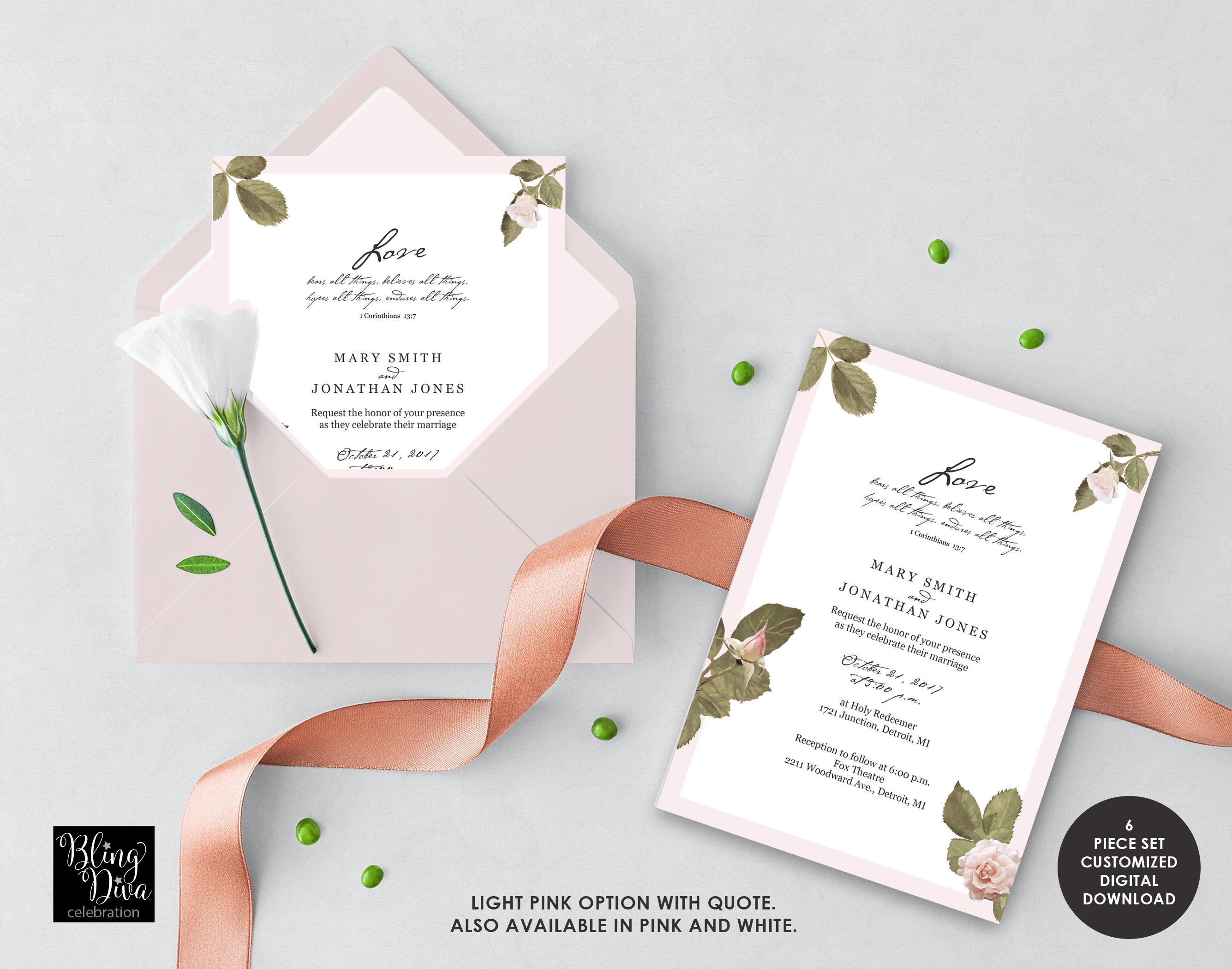 Love Blush Wedding Invitation - French Floral Wedding Invitation - Pink Wedding Invite - Custom Printable Flex Set