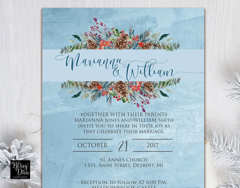 Woodland Wedding Invitation Red Cardinal Wedding Invitation Custom Print Ensemble Cardinal Winter Wedding Invitation