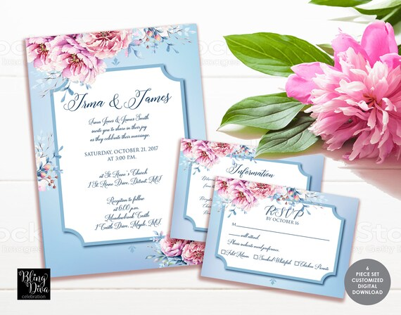 Customizable Wedding Invitation Templates: Pink Peonies Wedding Invitation Template Custom Printable