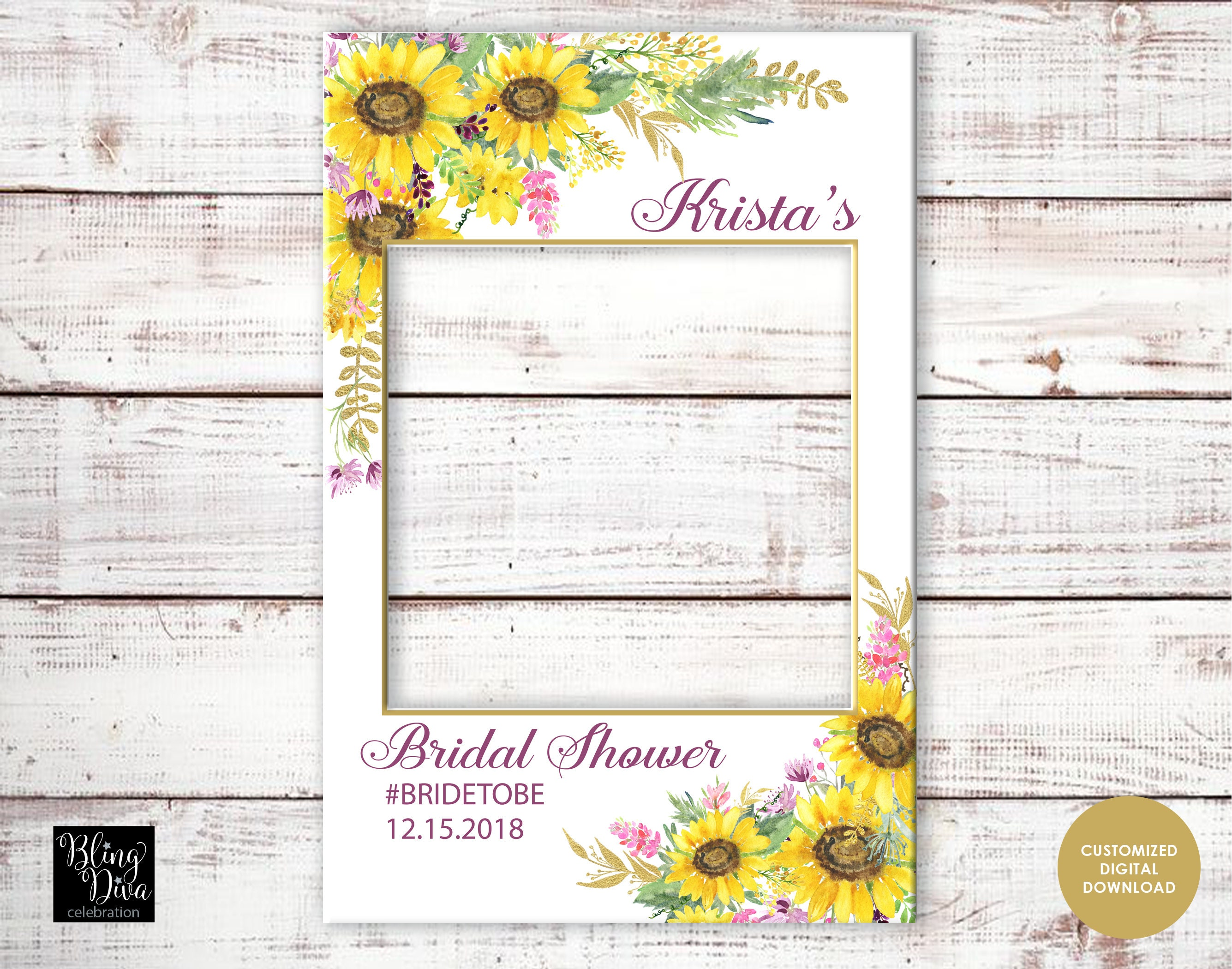Sunflower Bridal Shower Picture Prop