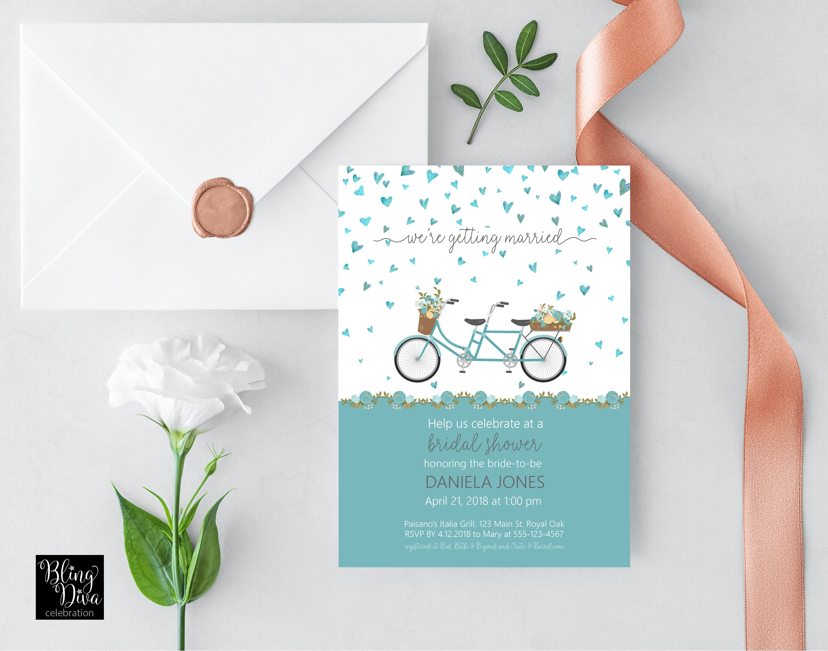 Bicycle Built for Two Bridal Shower Invitation Printable