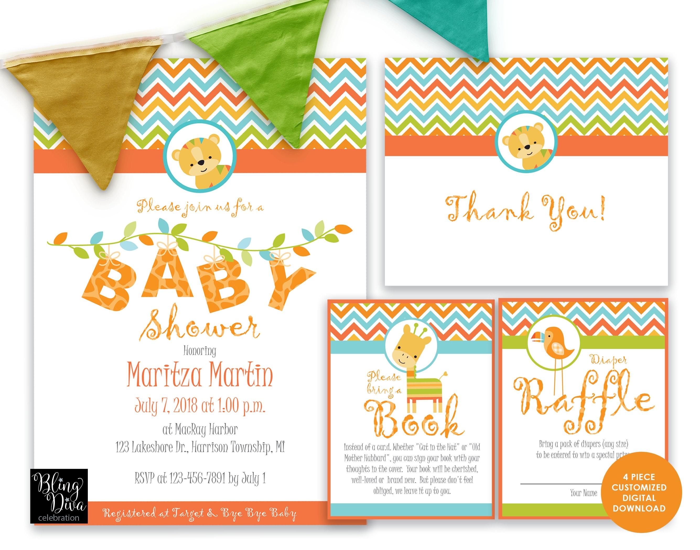 Jungle Babies - Baby Shower Invitation Printable Set