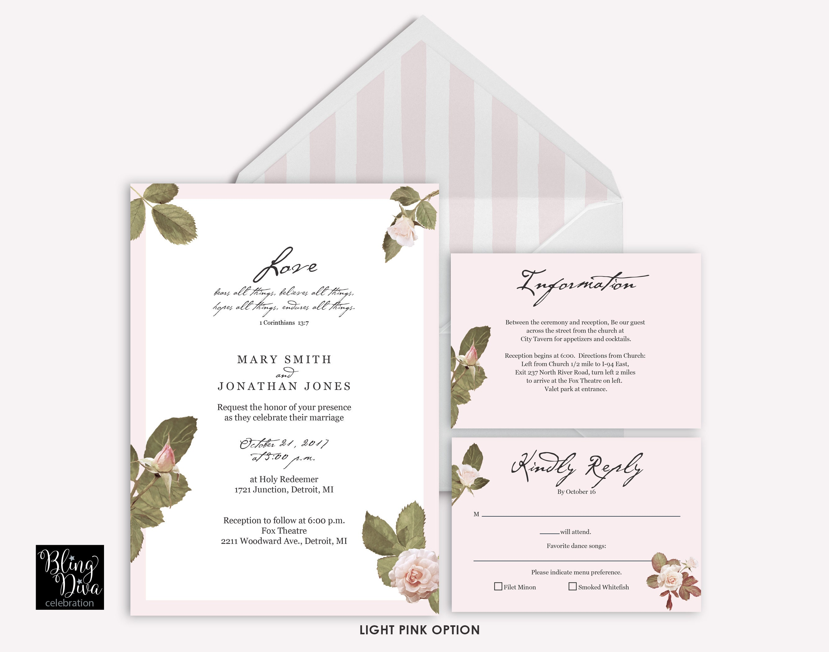 Love Blush Wedding Invitation - French Floral Wedding Invitation - Pink Wedding Invite - Custom Print Ensemble