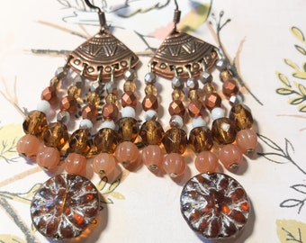 Antique copper chandelier earrings with sparkly Czech glass beads
