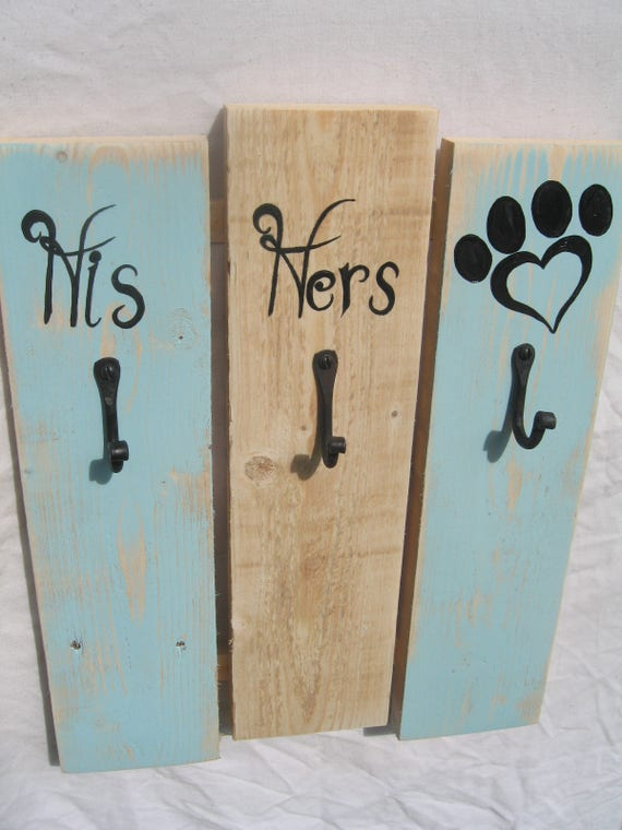 Rustic Pallet Wood 'Dog' lead and 'His ' and 'Hers' key holder Wall Rack