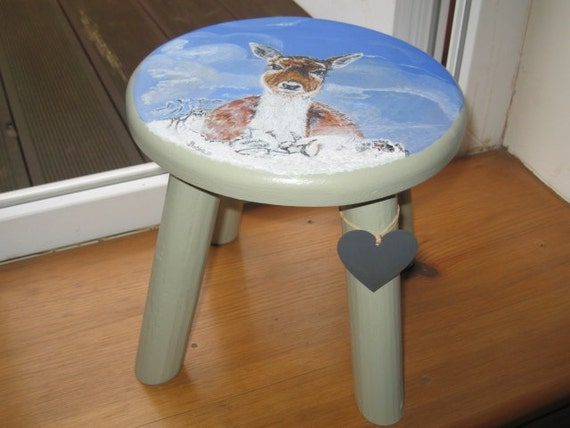 Wild life painting ...Fallow Deer in Snow on a Wooden Milking Stool
