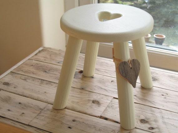 Light cream thick top heart wooden milking stool